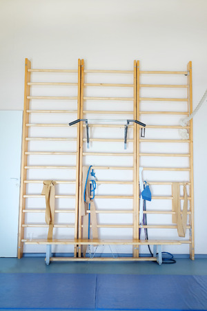 wall bars: Wall bars in the gymnastic hall Stock Photo