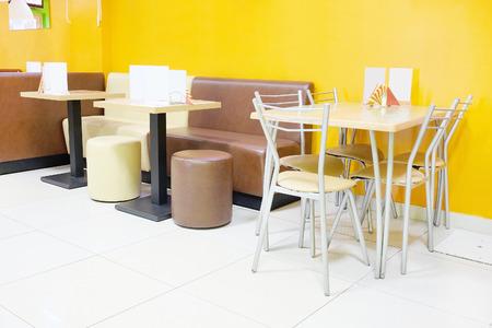 Modern restaurant interior with leather sofas photo