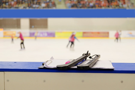 iceskates: Closeup black covers for skates Stock Photo