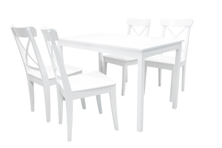 dining table and chairs: Wooden white dining table and four chairs