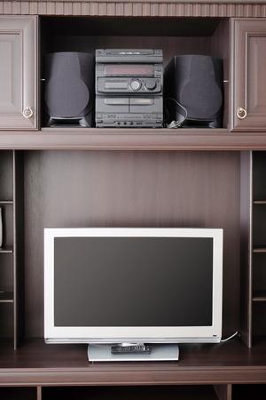 nightstands: Close up of TV in room Stock Photo