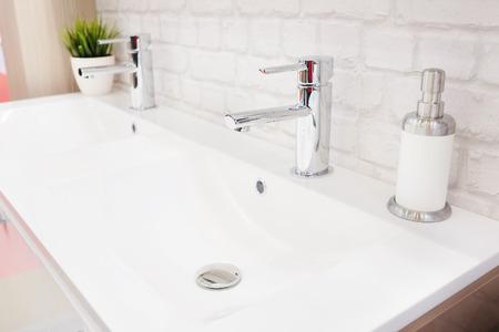 wash basin: Closeup of a wash basin in a modern bathroom Stock Photo