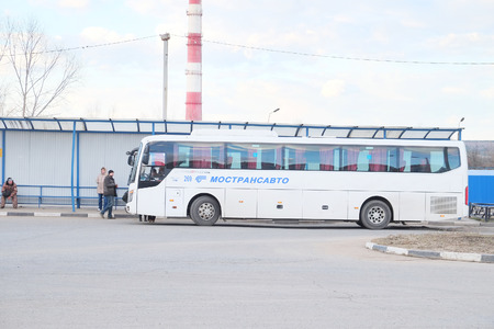 bus station: PUSHCHINO, RUSSIA  -  APRIL 09, 2015: Bus station in the city of Pushchino