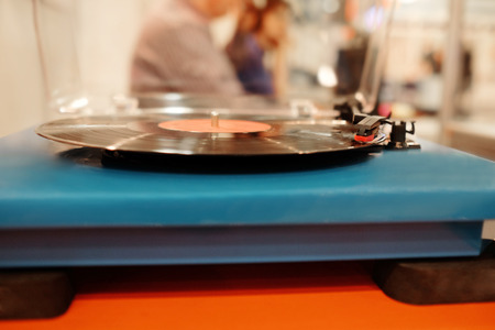 audiophile: Turntable playing vinyl Stock Photo