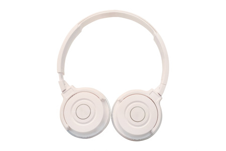 handsfree telephones: White headphones isolated under the white background Stock Photo