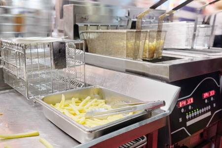 friture: French fries on a metal tray Stock Photo