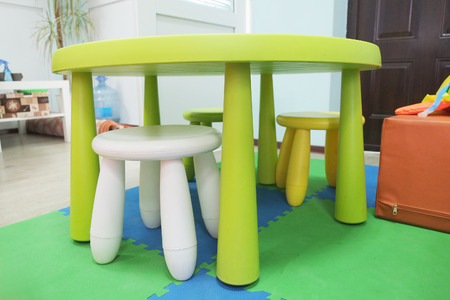 Colorful Plastic Kid Chairs And Table Stock Photo   39158217