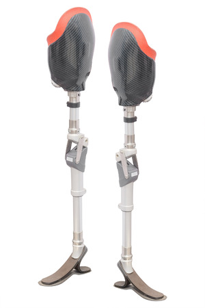prothetic: artificial limb under the white background Stock Photo