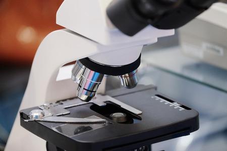 microscope isolated: Image of the professional medical laboratory microscope. Scientific microscope lens. Stock Photo