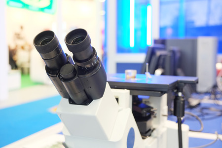microscope isolated: The image of the professional medical laboratory microscope isolated under the white background Stock Photo