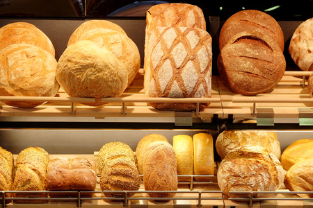 trays: Fresh bread in the bakery Stock Photo
