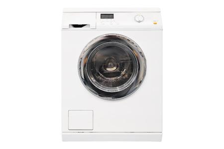 Washing machine isolated on white background photo