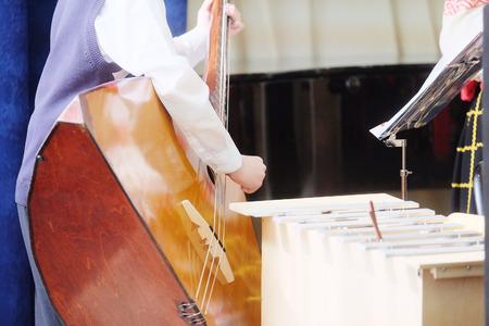performer: The performer plays balalaika during a concert