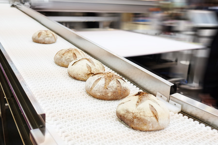 Baked breads on production line at bakery Stock Photo