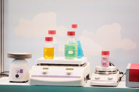 chemical substance: Laboratory equipment. Chemical substance in the bottle