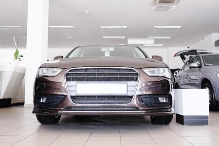dealers: Cars in a dealers showroom in Moscow, Russia Stock Photo
