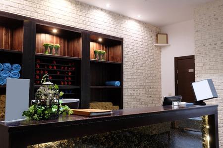 Reception desk in a spa salon Stock Photo