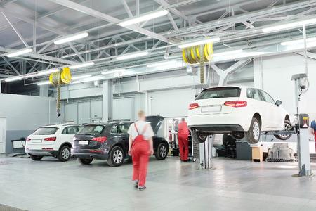 Cars in a dealer repair station