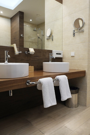 bathroom interior: Interior of a hotel bathroom