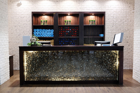 Reception desk in a spa salon Stock Photo