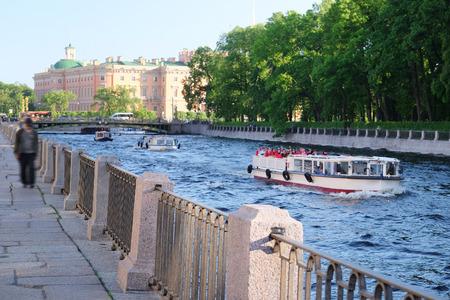 st  petersburg: St. Petersburg, Russia, June, 7, 2015: boat on a Moika river in St. Petersburg