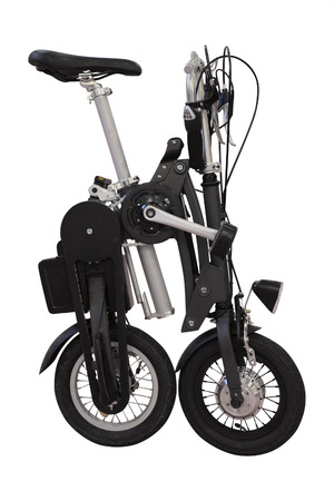v cycle: collapsible bicycle isolated under the white background Stock Photo
