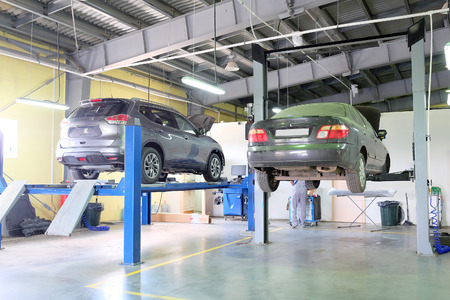 auto service: Serpuhov, Russia, June, 23, 2015: Cars in a dealer repair station in Serpuhov, Russia Editorial