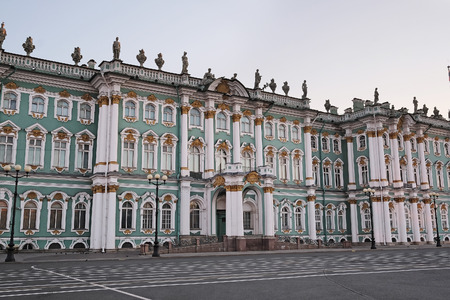 crown spire: The building of Hermitage and Winter Palace in St. Petersburg, Russia