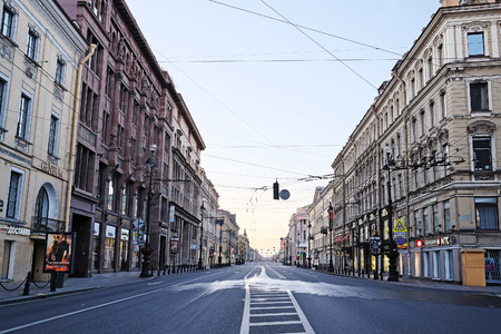 nevsky prospect: Empty Nevsky Prospect in St. Petersburg, Russia, in the morning Editorial