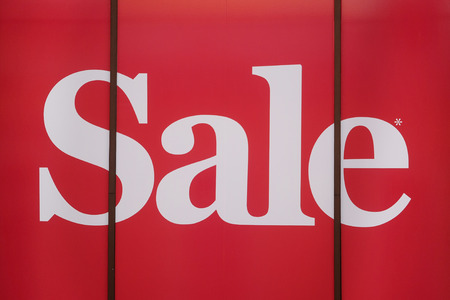 show window: The word Sale on a show window Stock Photo