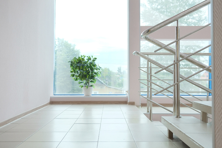 steel floor: The image of staircase in modern building
