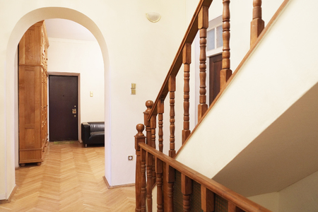 wood flooring: Interior decoration of a room with stairs Stock Photo