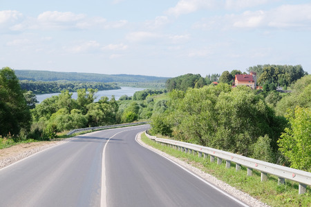 oka: Landscape with the image of country road Stock Photo