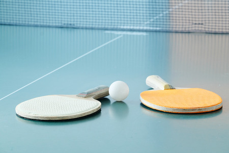 tabletennis: table tennis rackets and a ball Stock Photo