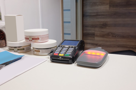 technology transaction: The image of cash machines Stock Photo