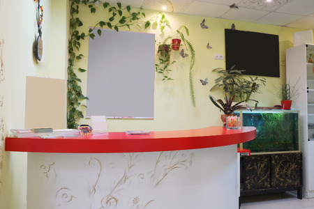 office desk: Reception desk in a cosmetological office