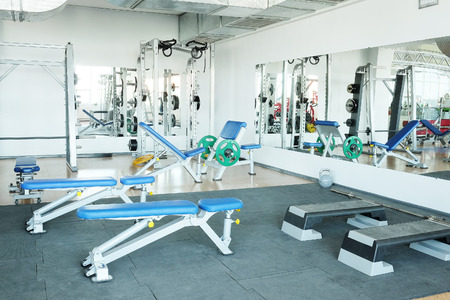 heavy heart: Interior of a fitness hall