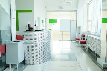 hall monitors: The image of a reception desk Editorial