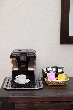 make public: Interior of a restaurant with coffee machine