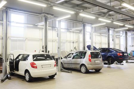 Interior of a car repair station Stock Photo