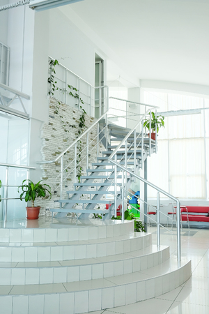 stairwell: The image of a stairwell in a modern building