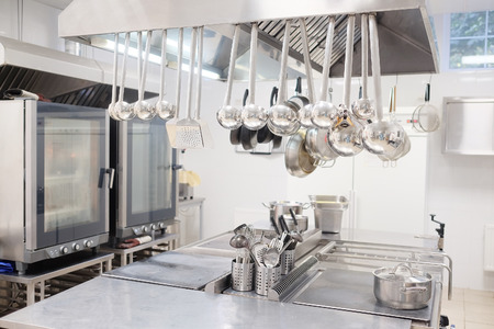 stainless steel pot: Professional kitchen in a restaurant