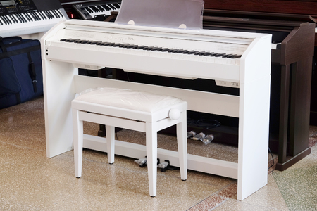 vitrine: sintezators  in a music shop