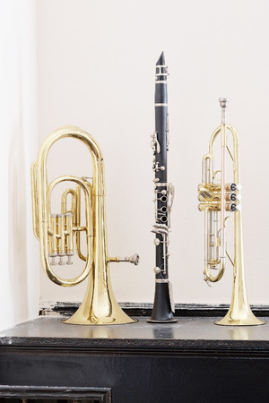 wind instrument: classical music wind instrument trumpet, flute Stock Photo