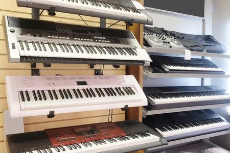 octaves: synthesizer under the white background Stock Photo
