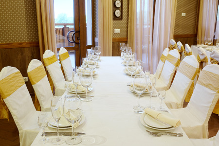 restaurant dining: Banquet facilities served table Stock Photo
