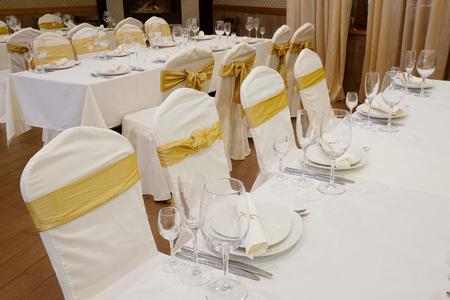 banquet facilities: Banquet facilities served table Stock Photo