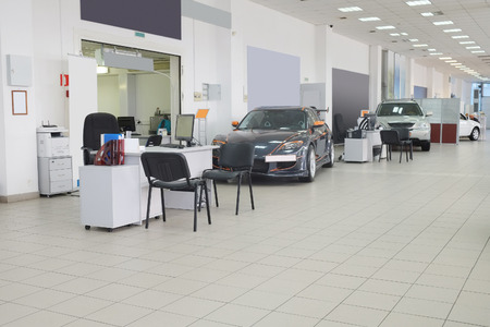 september 2: Tula, Rossia, September, 2, 2015: second-hand cars in dealers showroom. In the conditions of an economic crisis more and more buyers get cars in the secondary market in Russia