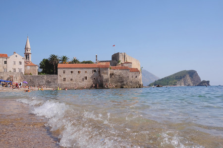 lough: View of an old town of Budva, Montenegro Editorial