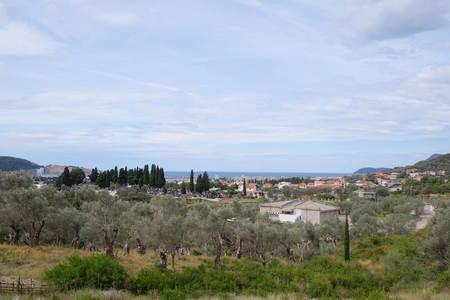 pyramidal: Mediterranean landscape with the image of mountains